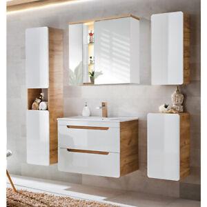 Details zu Badmöbel Set Keramik Waschtisch mit Unterschrank LED  Spiegelschrank Hochschrank