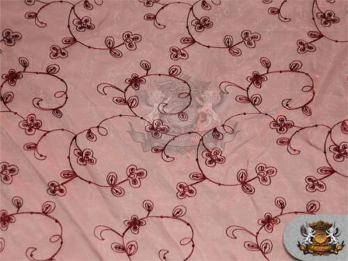 "Organza Floral Dahlia Fabric BURGUNDY Sold by the yard 60/"" Wide"