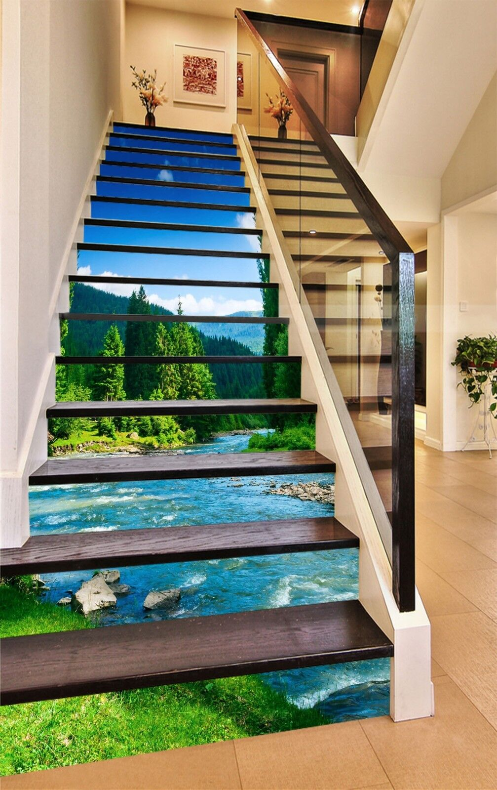 3D Sky mountain 7 Stair Risers Decoration Photo Mural Vinyl Decal Wallpaper UK