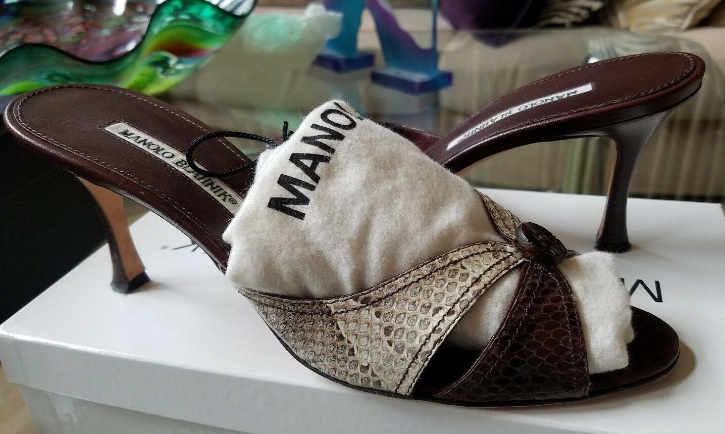 995 MANOLO BLAHNIK SNAKESKIN PYTHON HIGH HEEL SANDALS CREAM & Marronee scarpe 40 90cae9
