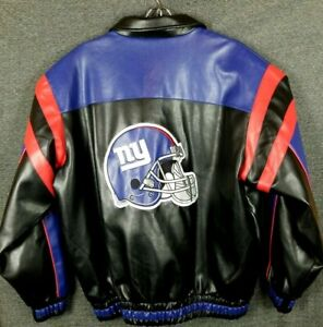 super popular 9de90 6b857 NFL New York Giants football faux Leather Bomber Jacket ...