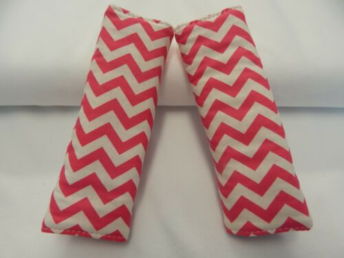 Mini Chevron Hot Pink Baby Seat Belt Strap Covers Car Highchair Stroller Pram