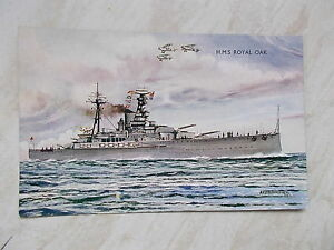 A-Coloured-Postcard-Of-H-M-S-Royal-Oak-Name-AFD-Bannister-Dated-1937-Salmon