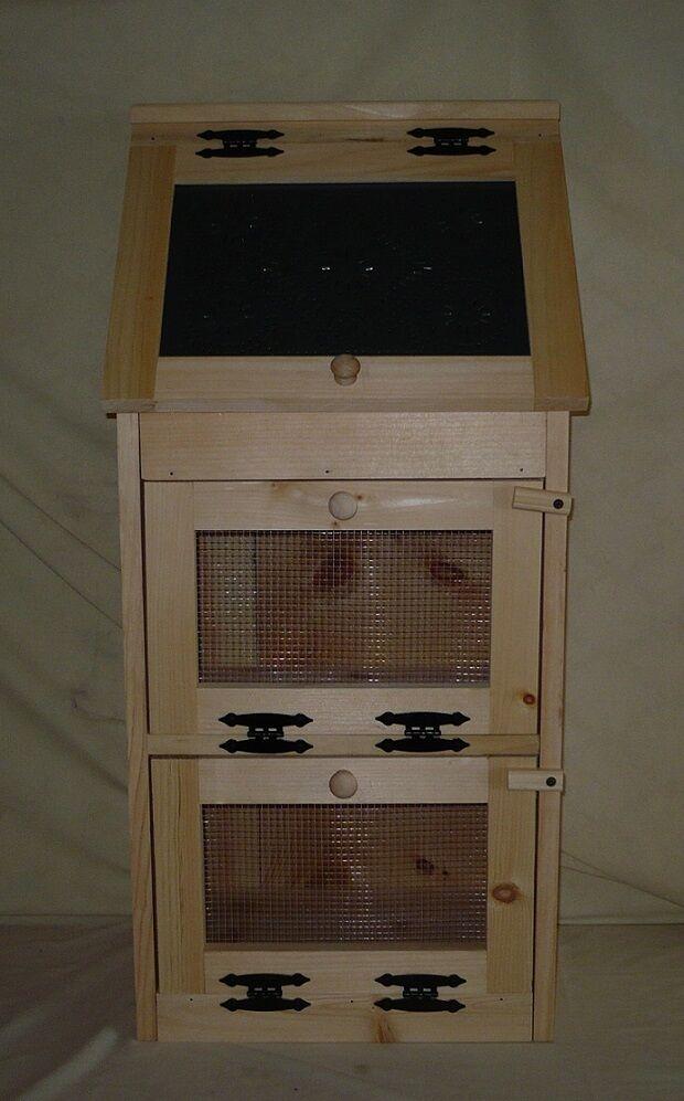 Handcrafted Solid Pine 2 Door Vegetable Bin with Punched Tin Door Bread Box