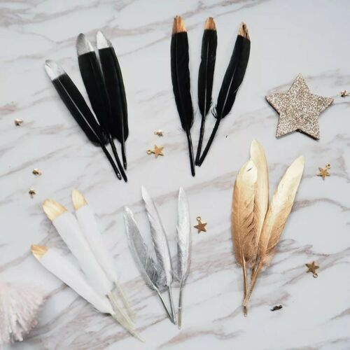 Gold Tipped Glitter Dipped Feathers Wedding Decor Confetti Craft Jewellery Party