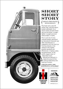 INTERNATIONAL HARVESTER TRUCK RETRO POSTER A3 PRINT FROM 60'S ADVERT