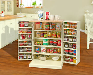 Details About Freestanding Pantry Cupboard Storage Unit Cabinet Solid Worktop Country Kitchen