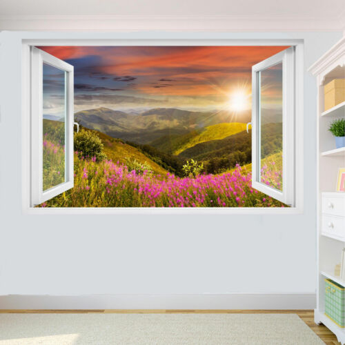 MOUNTAIN FLOWERS SCENERY WALL STICKER 3D ART MURAL SCENERY OFFICE HOME DECOR UP2