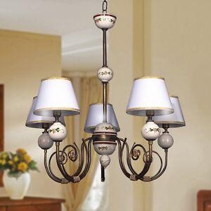 Dettagli su Lampadario classico ferro battuto e ceramica con Paralumi 5  luci camera da letto