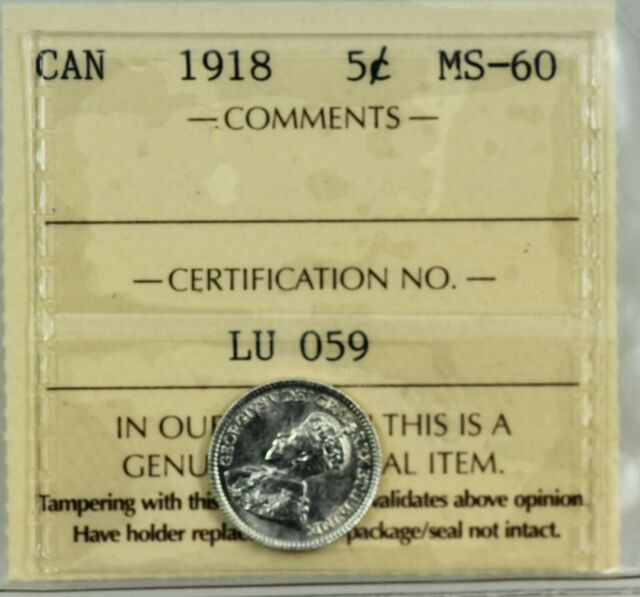 CANADA: King George V 1918 Silver 5 Cents, ICCS MS-60.