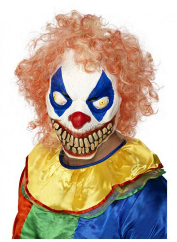 Mens Evil Grinning Clown Mask With Hair Halloween Horror Scary Costume Accessory