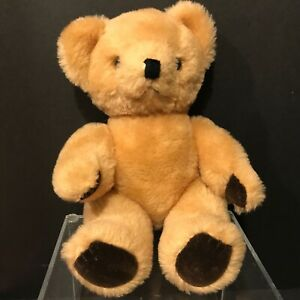Vintage-Golden-Mohair-Teddy-Bear-10-Inches-Tall-Jointed-Unmarked-Glass-Eyes