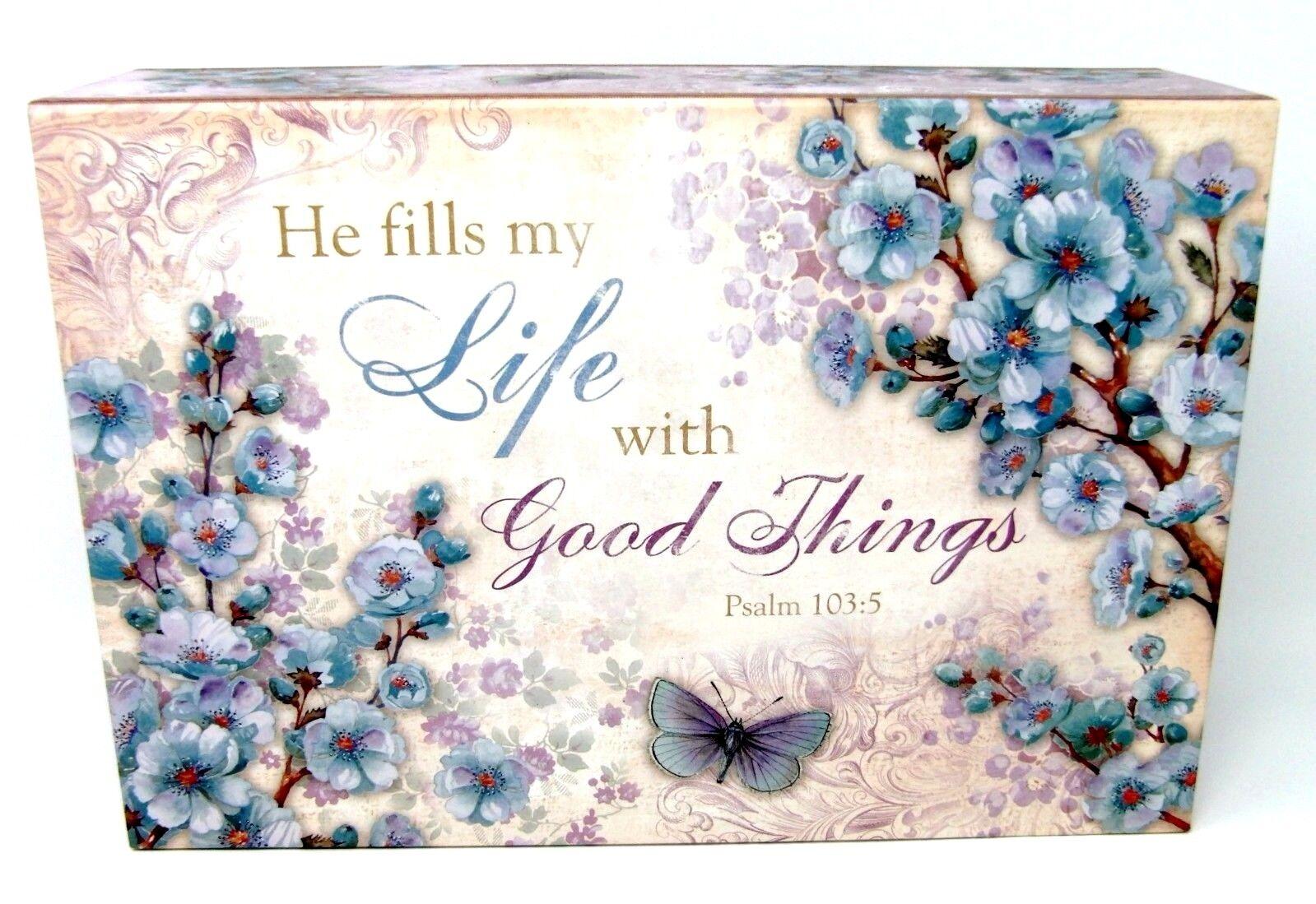 Pooch & Sweetheart Flip Top Nesting Box Floral Scripture 97481 Med Punch Studio
