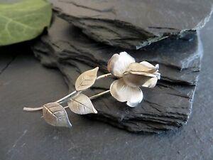 Tolle 925 Silber Brosche Kollmar & Jourdan Pforzheim Blume Rose Tracht Platisch