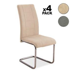 Detalles En 4 Comedor GrisSan Modernas O Diseño Silla Moderna Pack De Sillas Beige nv8m0Nw