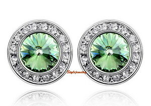 18k-White-Gold-Filled-Green-Round-Stud-Earring-Made-With-Swarovski-Crystal-XE59