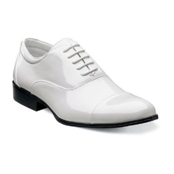 Stacy Adams Uomo Tuxedo Prom  shoes Gala Shinny White White White Patent Pelle 24998-122 ccd5af