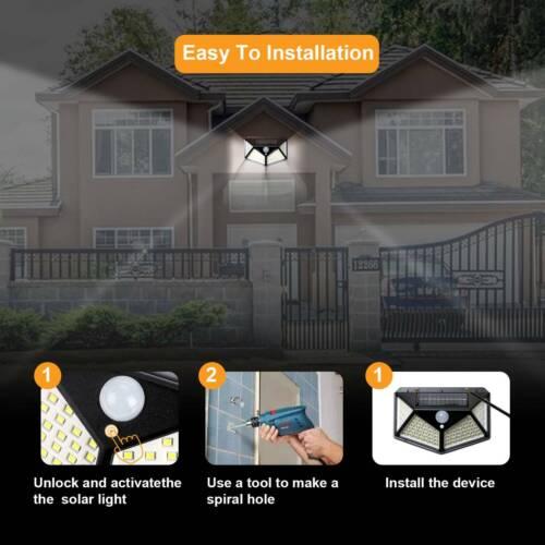 4x100LED Solarleuchte mit Bewegungsmelder Solarstrahler Außenleuchte Gartenlampe