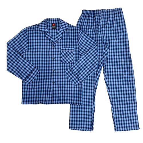 HANES BLUE PLAID LONG SLEEVE SHIRT LONG PANTS MENS PAJAMAS SET  XL 2XL 3XL NWT
