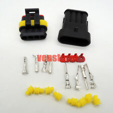 10sets Of 4pin Way Sealed Waterproof Electrical Wire Connector Plug Terminal Kit