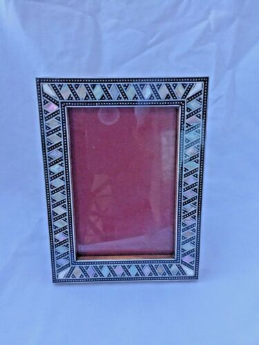 """Egyptian Wood Mother of Pearl Inlaid Handmade Picture Frame 7/"""" X 5.25/"""" #241"""