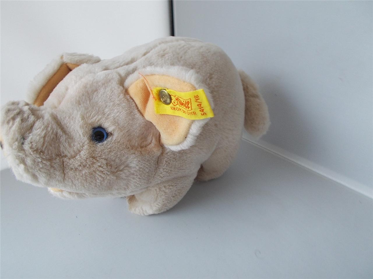 Vintage STEIFF Pig With Button & Label Good Condition Plush Soft Toy