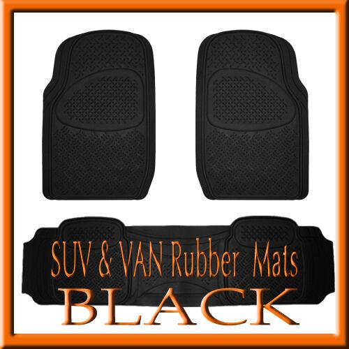 Fits CHEVY SILVERADO 2500 HEAVY DUTY SEMI CUSTOM BLACK RUBBER FLOOR MATS 3PCS