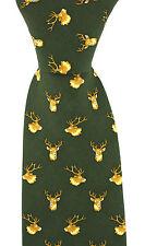 Soprano green colour Luxury Silk Tie with stag's head design - deer stalking
