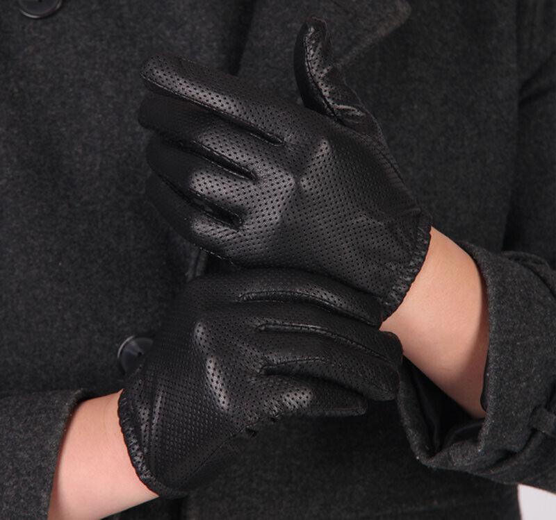 Men's Deluxe Mesh Surface Genuine Sheep Leather Wrist Gloves Silk inside M-XL