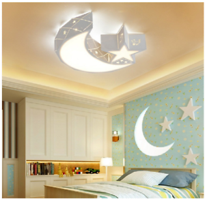 Details about Moon Star Led Chandeliers Ceiling Lights Child Kids Girls  Bedroom Lighting Decor