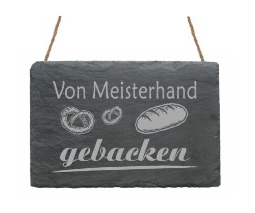 Schiefertafel « Von MEISTERHAND gebacken » Geschenk Bäckermeister Bäckerei