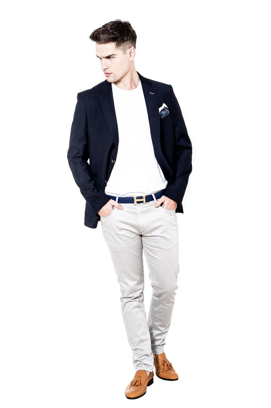 Herren Designer Slim Fit  Navy Blazer by Alexander Caine