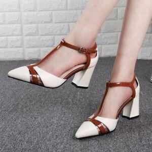 Slingbacks-T-Strap-Block-Heel-Leather-Pointy-Toe-Womens-Grace-Dress-Party-Shoes