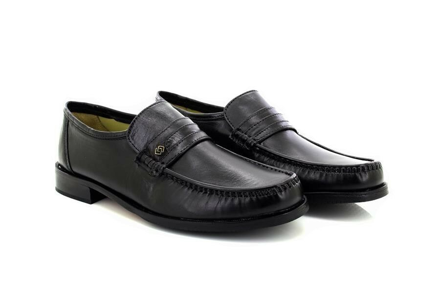 Mens Catesby Mano Black Leather Moccasin Slip-On shoes