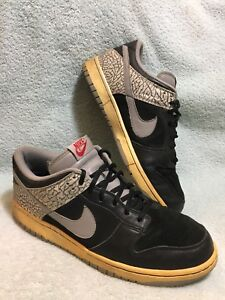 reputable site 1f293 db061 Details about 2006 Nike SB DUNK LOW CL AIR JORDAN III 3 BLACK CEMENT GREY  304714-905 Size 11