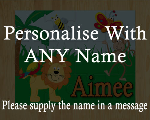 Personalised Jungle Themed jigsaw perfect gift for kids with any name printed