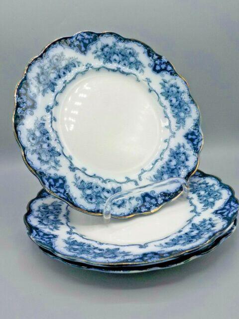 3 Antique Ridgway England Rose Flow Blue 10