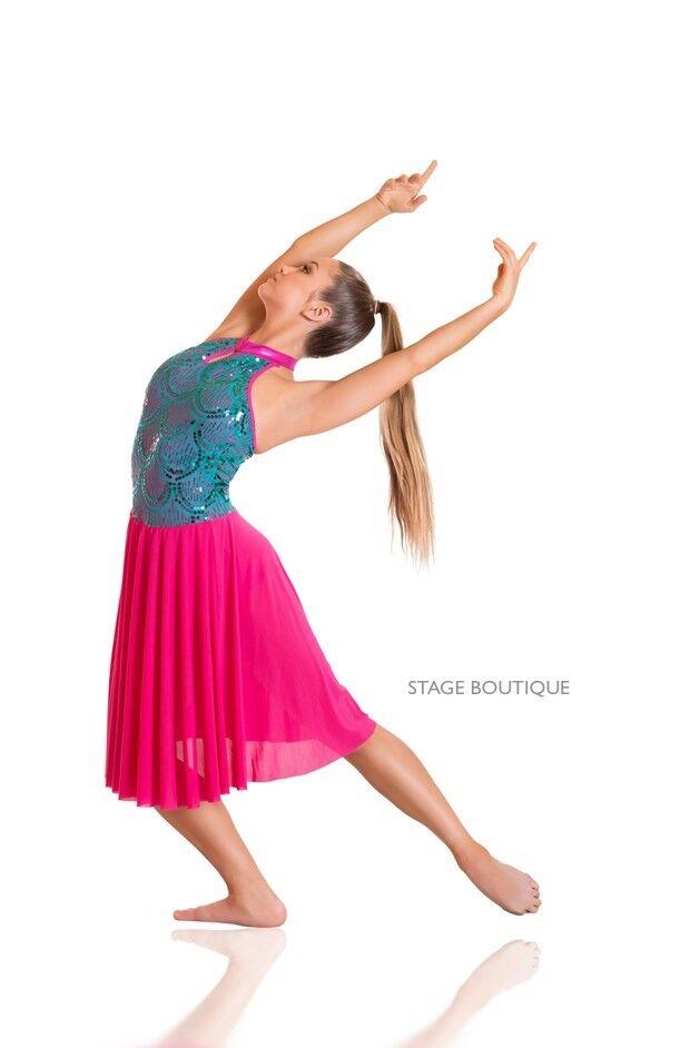IN STOCK Cerise & Turq High Neck Lyrical Modern Jazz Dress Dance Costume AXS