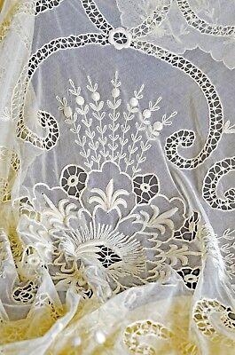 Vintage Antique LINEN SHEET with Elegant Hemstitching VV67