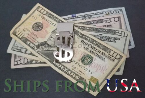 Hinged Dollar Sign Stainless Steel Business Card and Money Clip
