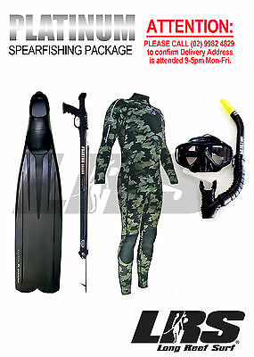 NEW Platinum SPEARFISHING PKGE Wetsuit Spr'gun Mask snorkel & long predator fins