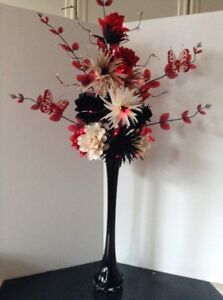 Image is loading Artificial-Silk-Flower-Arrangement-In-Red-&-Brown- & Artificial Silk Flower Arrangement In Red \u0026 Brown 90cm Black Vase ...