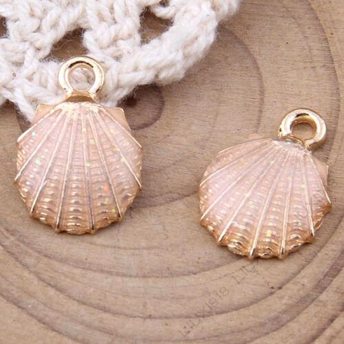 Esmalte Encantos Colgante De Concha De Mar fabricación de joyería para armar uno mismo de oro GP colgantes pequeños 1034 H