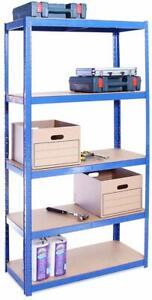 Azul-5-nivel-175KG-por-estante-capacidad-de-875KG-Garaje-Cobertizo-unidades-con-estantes-de