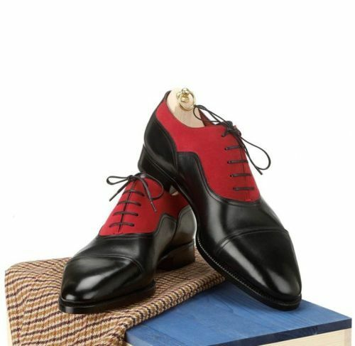 MENS NEW HANDMADE PURE LEATHER TWO TONE BLACK & RED FORMAL SHOES