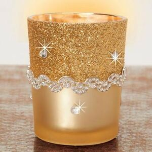 YANKEE CANDLE Gold Glitter and Black Votive Candle Holder