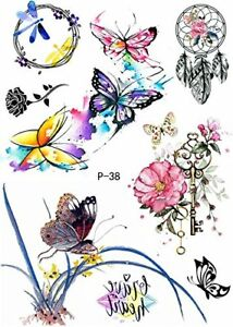 Wasserfarben Tattoo Schmetterlinge Traumfänger Blumen Tattoo Zum