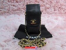 Auth CHANEL VINTAGE Black Caviar Phone Case Holder Bag Gold HW