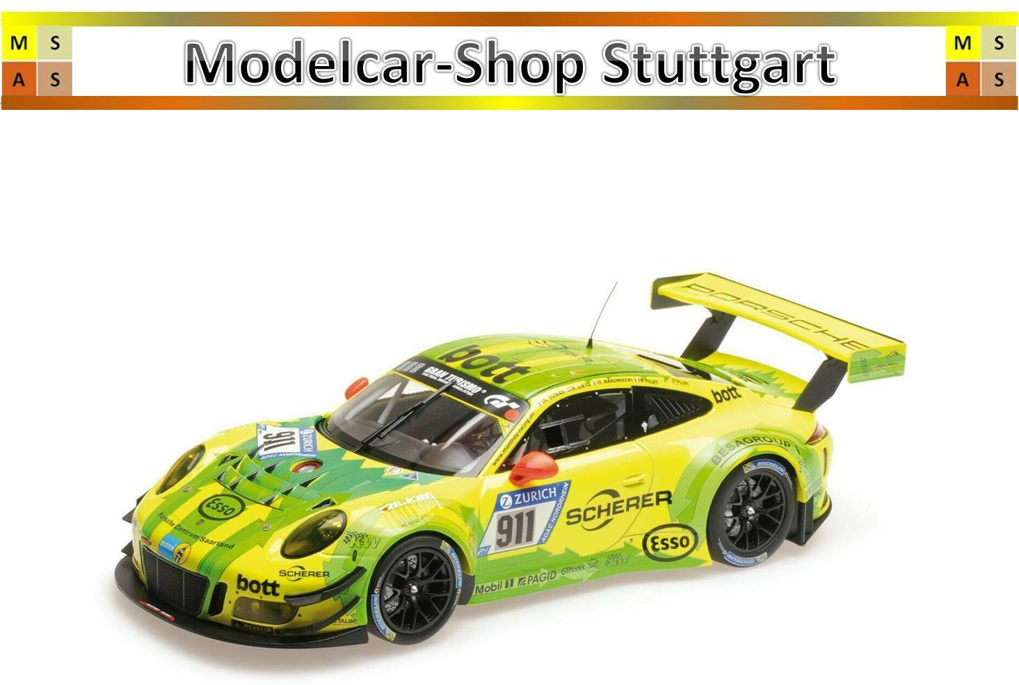 PORSCHE 911 gt3 R Manthey Racing - 24h NURBURGRING 2017-Minichamps 1:18 - NUOVO