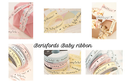 15mm  ** NEW FOR 2019 ** Berisfords MUMMY TO BE Ribbon baby Pink Blue /& Lemon